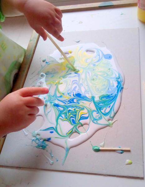peinture dans colle